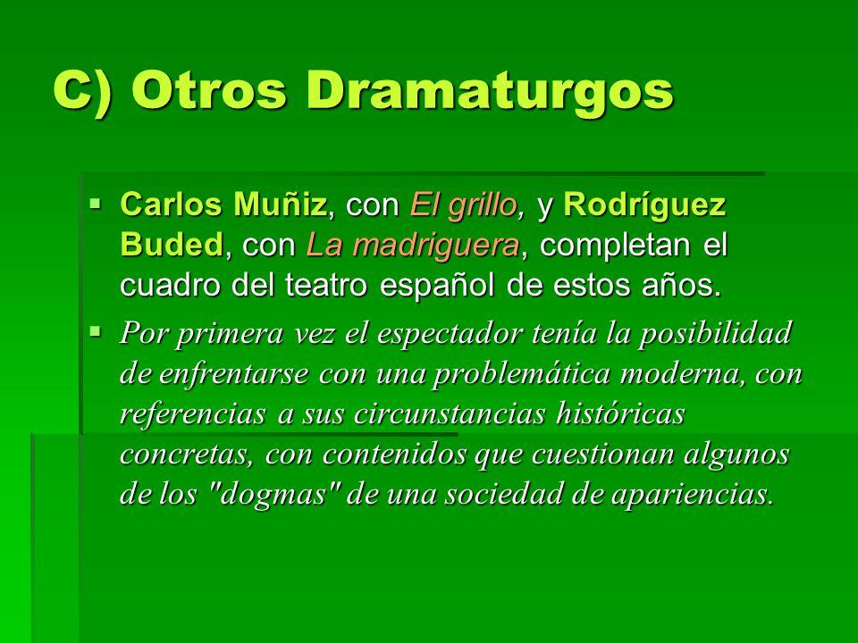 C) Otros Dramaturgos Carlos Muñiz, con El grillo, y Rodríguez Buded, con La madriguera, completan el cuadro del teatro español de estos años. Carlos M