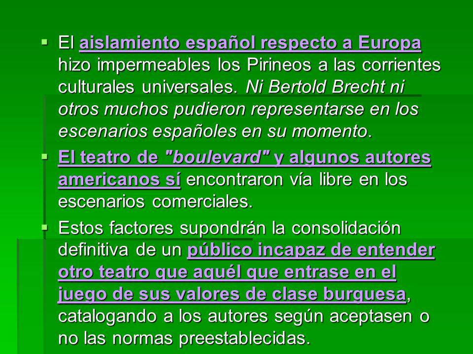 El aislamiento español respecto a Europa hizo impermeables los Pirineos a las corrientes culturales universales. Ni Bertold Brecht ni otros muchos pud