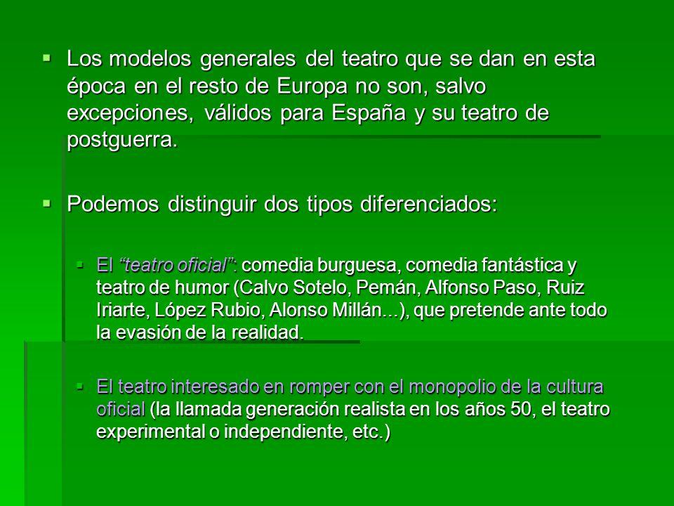 Los modelos generales del teatro que se dan en esta época en el resto de Europa no son, salvo excepciones, válidos para España y su teatro de postguerra.