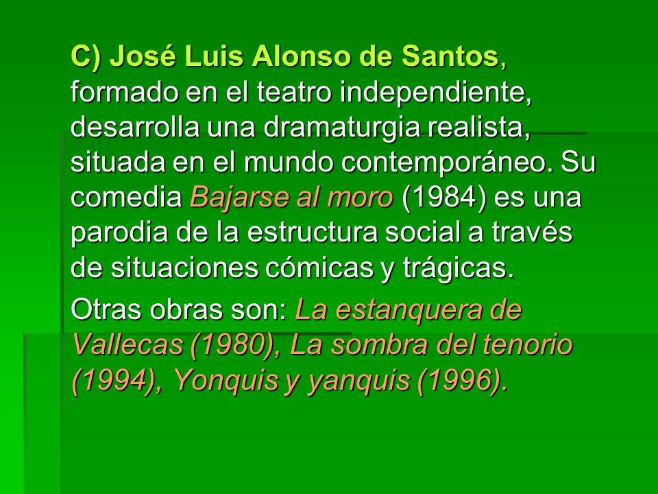 C) José Luis Alonso de Santos, formado en el teatro independiente, desarrolla una dramaturgia realista, situada en el mundo contemporáneo. Su comedia