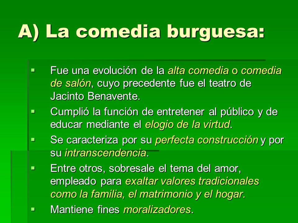 A) La comedia burguesa: Fue una evolución de la alta comedia o comedia de salón, cuyo precedente fue el teatro de Jacinto Benavente.