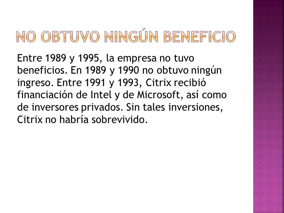 Entre 1989 y 1995, la empresa no tuvo beneficios. En 1989 y 1990 no obtuvo ningún ingreso.