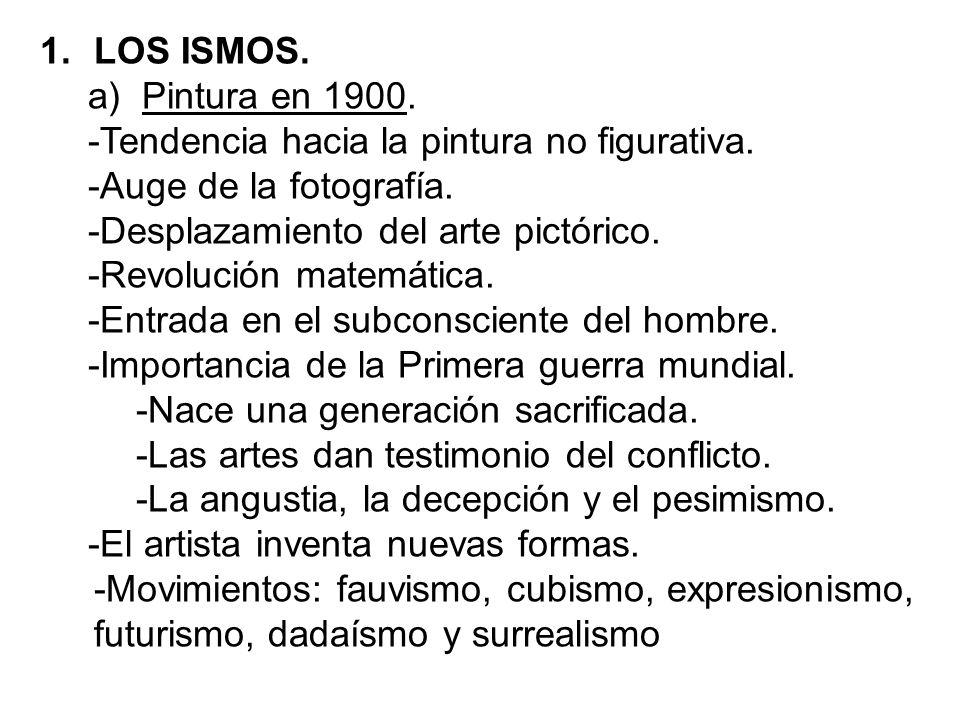 1.LOS ISMOS. a)Pintura en 1900. -Tendencia hacia la pintura no figurativa. -Auge de la fotografía. -Desplazamiento del arte pictórico. -Revolución mat