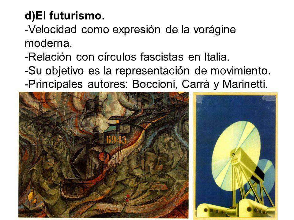 d)El futurismo. -Velocidad como expresión de la vorágine moderna. -Relación con círculos fascistas en Italia. -Su objetivo es la representación de mov