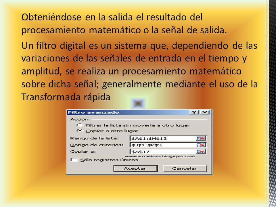Obteniéndose en la salida el resultado del procesamiento matemático o la señal de salida.