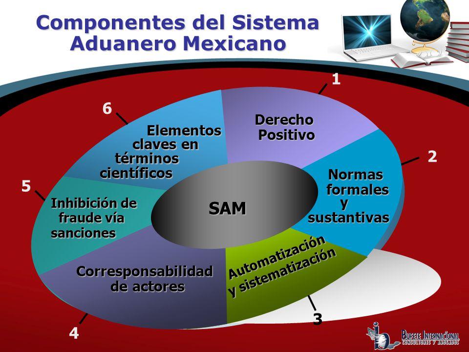 Componentes del Sistema Aduanero Mexicano 1 4 - Normasformales DerechoPositivo Elementos claves en científicos términos y sustantivas sustantivas Automatización y sistematización SAM Corresponsabilidad de actores Inhibición de fraude vía fraude víasanciones 2 3 5 6
