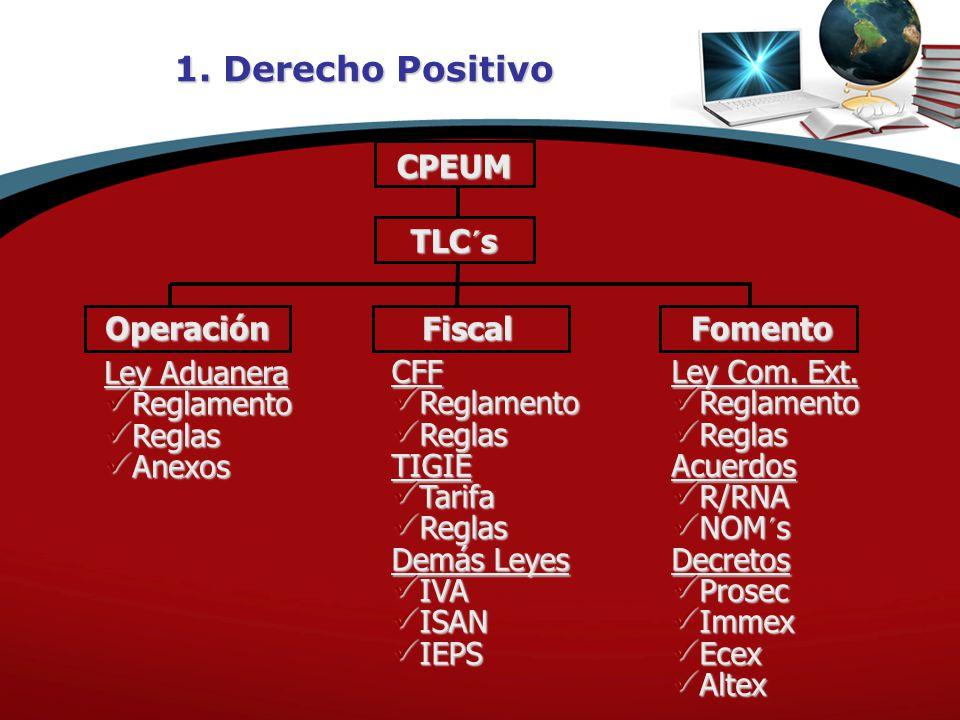 1. Derecho Positivo CPEUM Operación Fiscal Fomento TLC´s Ley Aduanera Reglamento Reglamento Reglas Reglas Anexos Anexos CFF Reglamento Reglamento Regl