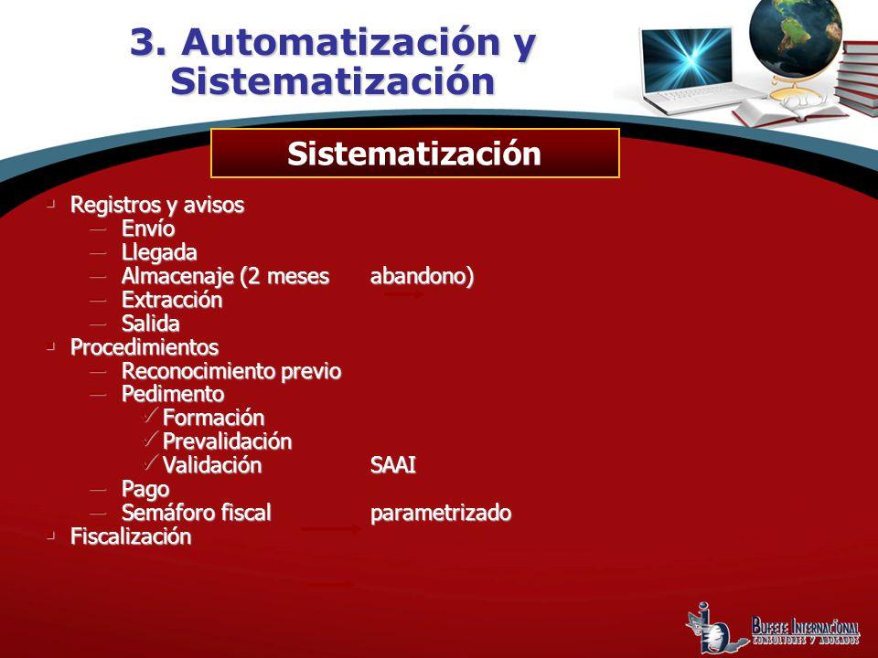 3. Automatización y Sistematización Registros y avisos Registros y avisos Envío Envío Llegada Llegada Almacenaje (2 mesesabandono) Almacenaje (2 meses