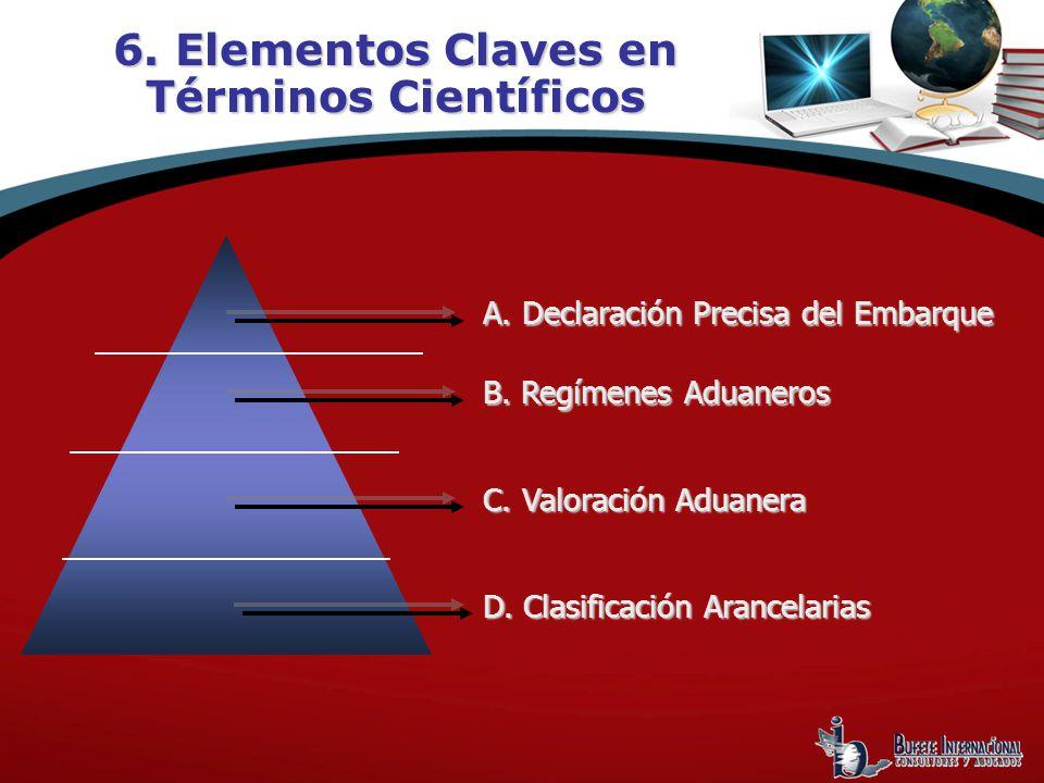 A. Declaración Precisa del Embarque C. Valoración Aduanera D. Clasificación Arancelarias 6. Elementos Claves en Términos Científicos B. Regímenes Adua