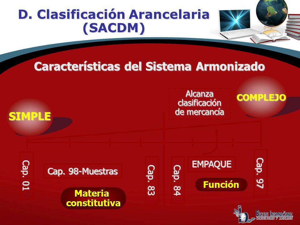 Cap. 98-Muestras Cap. 83 Cap. 84 EMPAQUE Alcanza clasificación de mercancía Características del Sistema Armonizado Cap. 01 Cap. 97 SIMPLE COMPLEJO COM