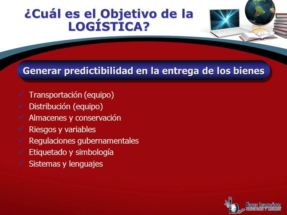 ¿Cuál es el Objetivo de la LOGÍSTICA? Generar predictibilidad en la entrega de los bienes Transportación (equipo) Distribución (equipo) Almacenes y co