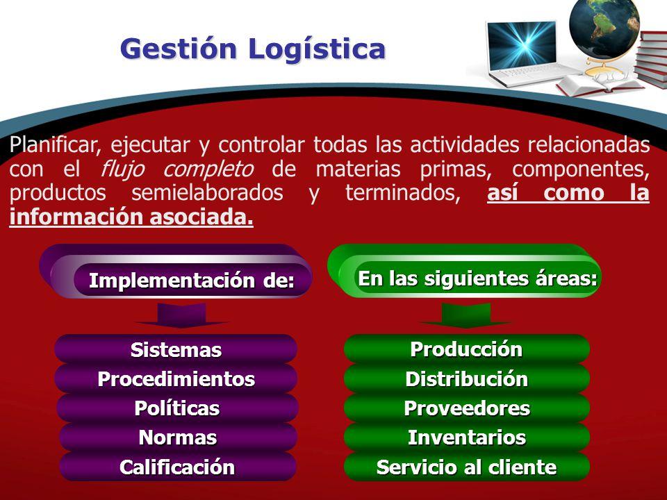 Gestión Logística Planificar, ejecutar y controlar todas las actividades relacionadas con el flujo completo de materias primas, componentes, productos semielaborados y terminados, así como la información asociada.