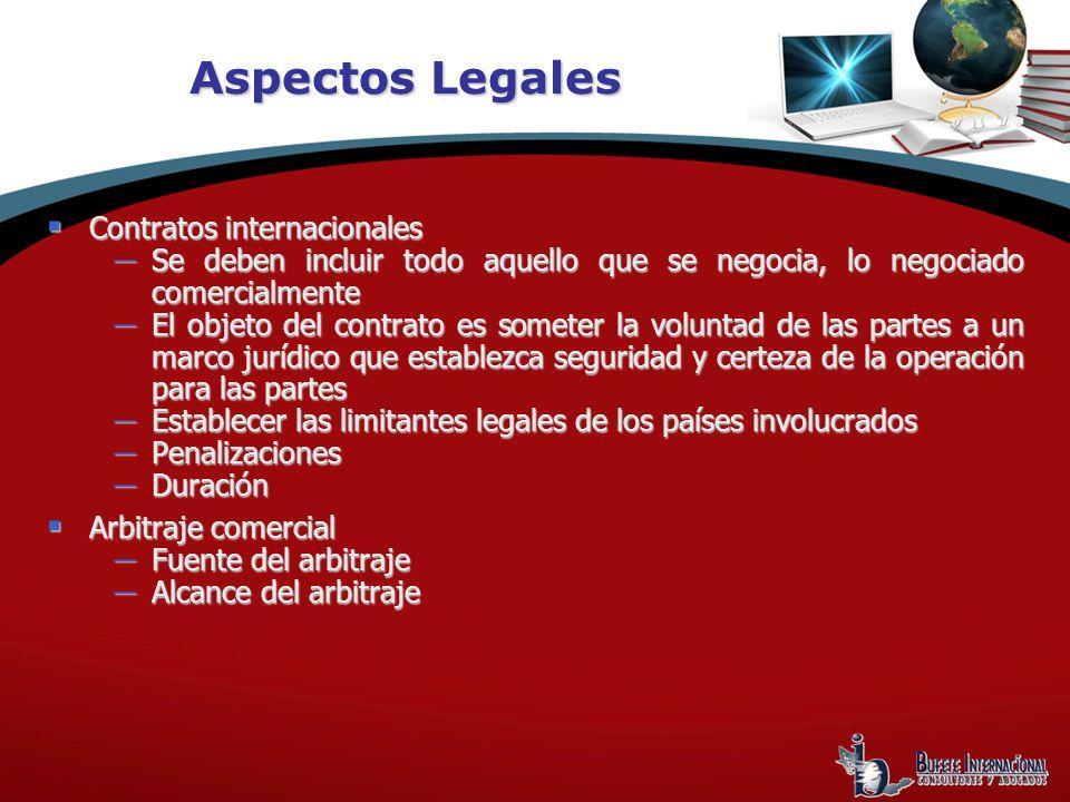 Aspectos Legales Contratos internacionales Contratos internacionales Se deben incluir todo aquello que se negocia, lo negociado comercialmente Se debe