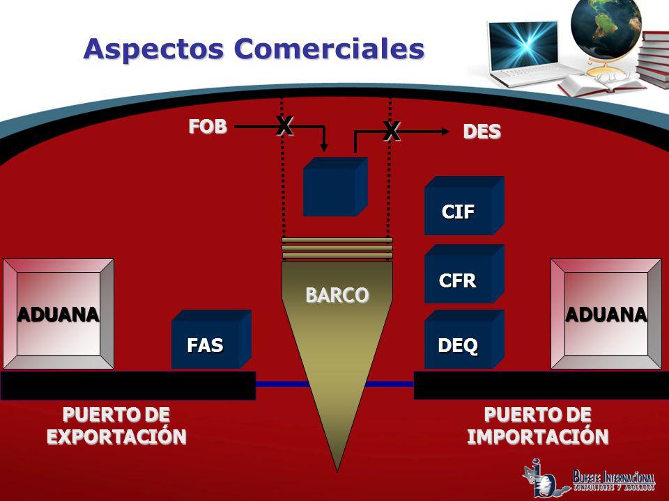 ADUANAADUANA FASDEQ PUERTO DE EXPORTACIÓN PUERTO DE IMPORTACIÓN DES FOB X X BARCO Aspectos Comerciales CFR CIF