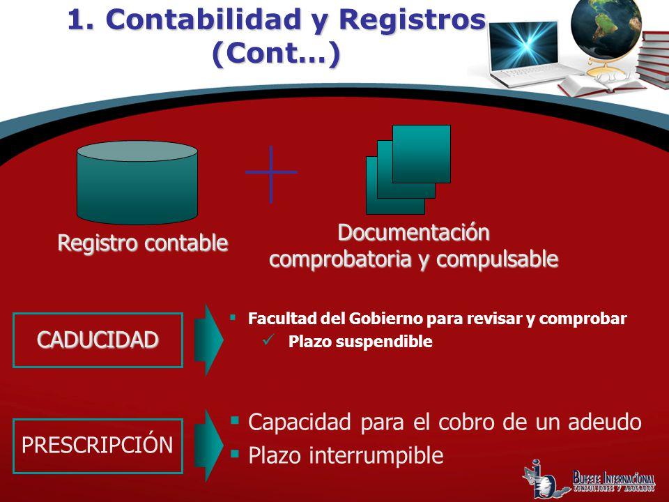 Facultad del Gobierno para revisar y comprobar Plazo suspendible 1. Contabilidad y Registros (Cont…) Registro contable Documentación comprobatoria y c