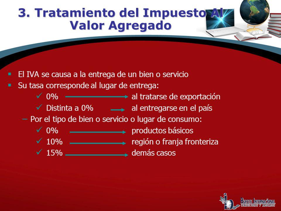 El IVA se causa a la entrega de un bien o servicio Su tasa corresponde al lugar de entrega: 0%al tratarse de exportación Distinta a 0%al entregarse en