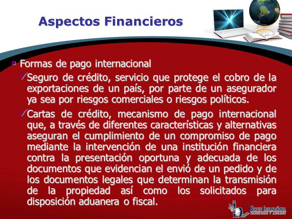Aspectos Financieros Formas de pago internacional Formas de pago internacional Seguro de crédito, servicio que protege el cobro de la exportaciones de