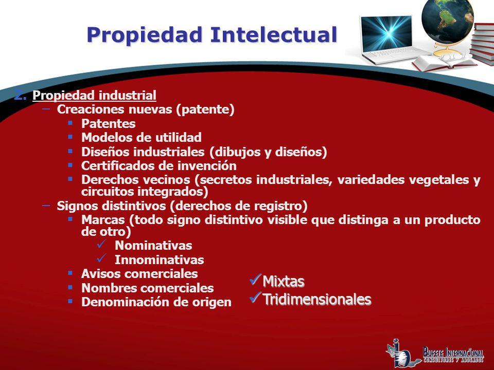 2. Propiedad industrial – Creaciones nuevas (patente) Patentes Modelos de utilidad Diseños industriales (dibujos y diseños) Certificados de invención
