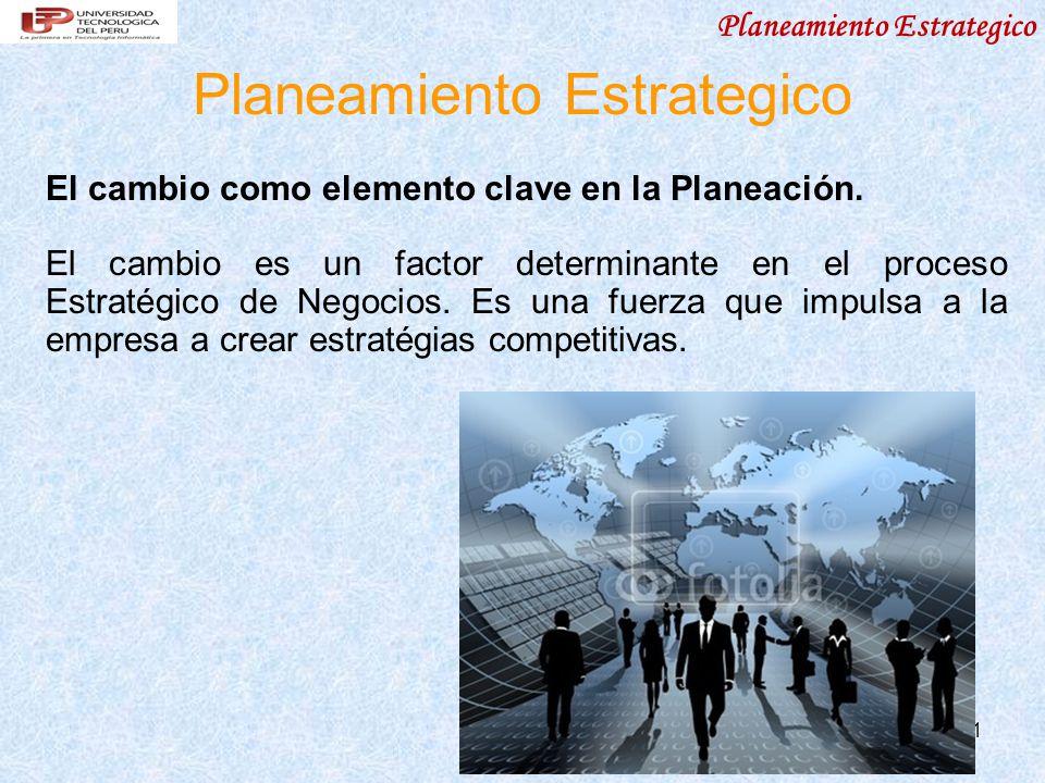 Planeamiento Estrategico 11 Planeamiento Estrategico El cambio como elemento clave en la Planeación. El cambio es un factor determinante en el proceso