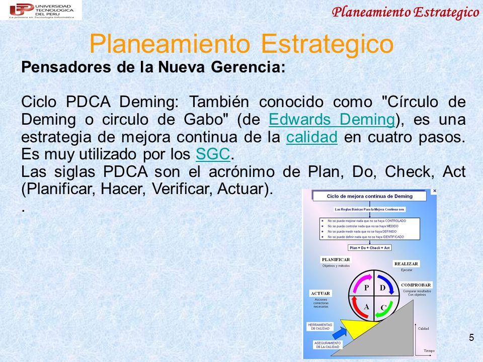 Planeamiento Estrategico 5 Pensadores de la Nueva Gerencia: Ciclo PDCA Deming: También conocido como