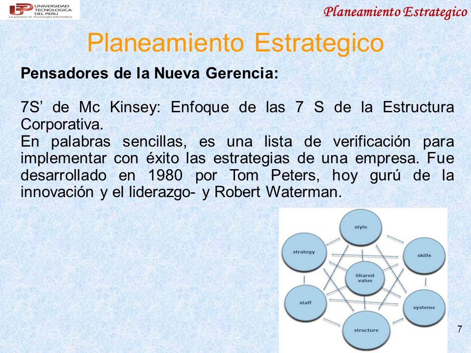 Planeamiento Estrategico 7 Pensadores de la Nueva Gerencia: 7S de Mc Kinsey: Enfoque de las 7 S de la Estructura Corporativa. En palabras sencillas, e