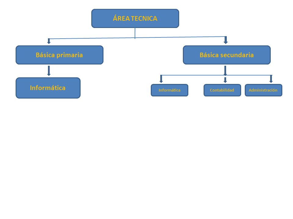 ÁREA TECNICA Informática Básica primariaBásica secundaria Informática ContabilidadAdministración