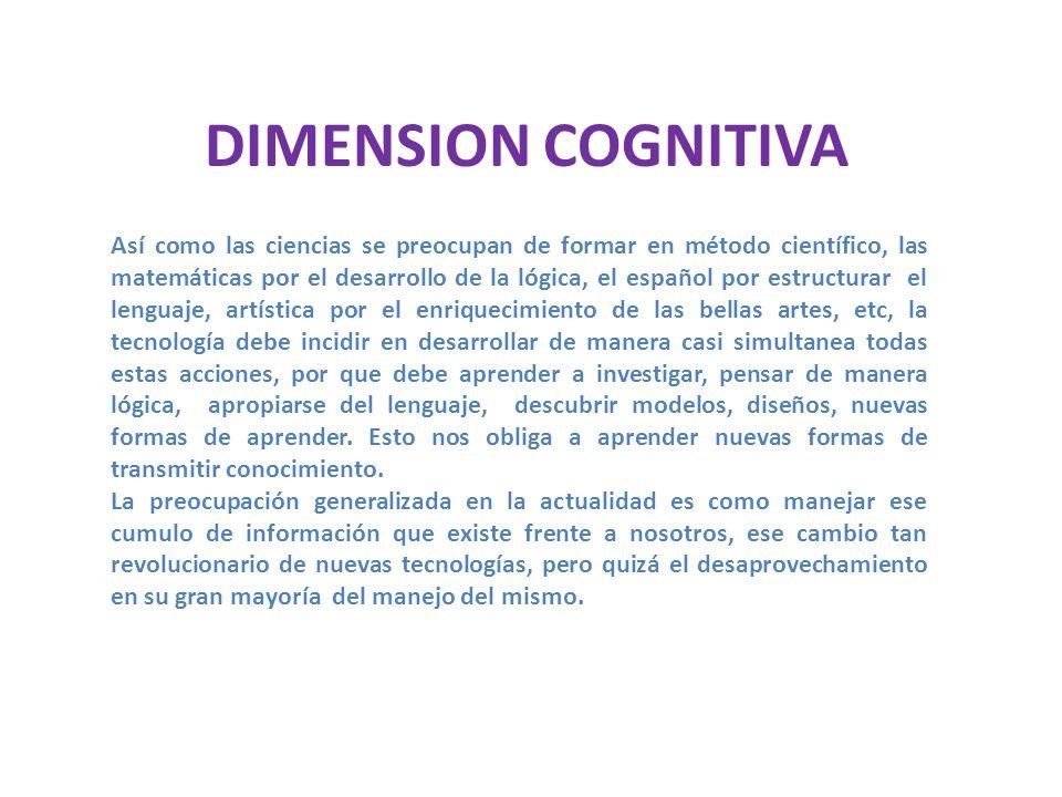 DIMENSION EPISTEMOLOGICA Confiere los siguientes saberes: 1.