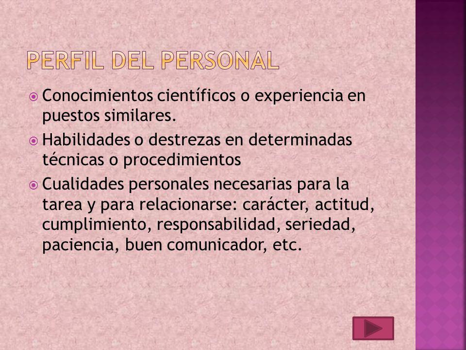 Conocimientos científicos o experiencia en puestos similares.