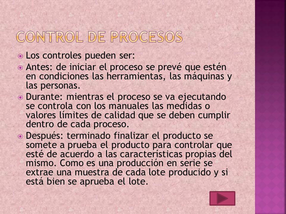 Los controles pueden ser: Antes: de iniciar el proceso se prevé que estén en condiciones las herramientas, las máquinas y las personas.