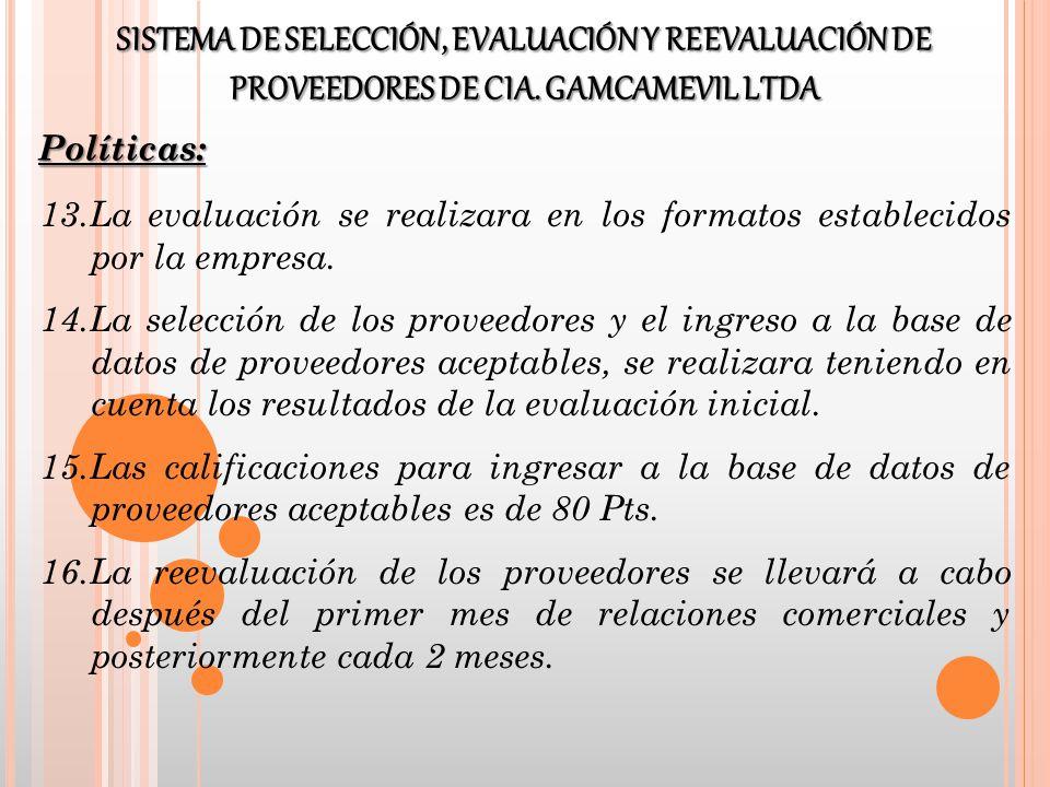 13.La evaluación se realizara en los formatos establecidos por la empresa. 14.La selección de los proveedores y el ingreso a la base de datos de prove