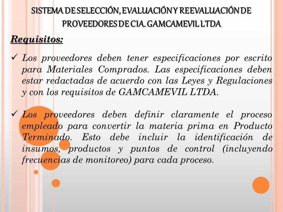 Los proveedores deben tener especificaciones por escrito para Materiales Comprados. Las especificaciones deben estar redactadas de acuerdo con las Ley