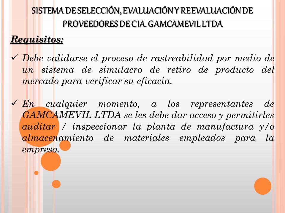 Debe validarse el proceso de rastreabilidad por medio de un sistema de simulacro de retiro de producto del mercado para verificar su eficacia. En cual