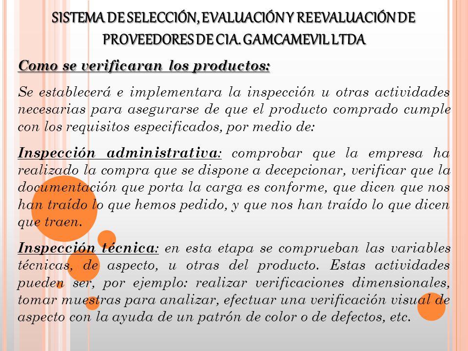 Como se verificaran los productos: Se establecerá e implementara la inspección u otras actividades necesarias para asegurarse de que el producto compr