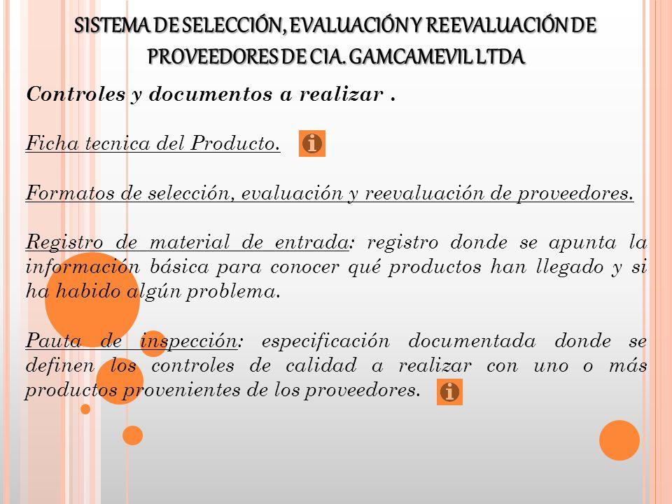 Controles y documentos a realizar. Ficha tecnica del Producto. Formatos de selección, evaluación y reevaluación de proveedores. Registro de material d