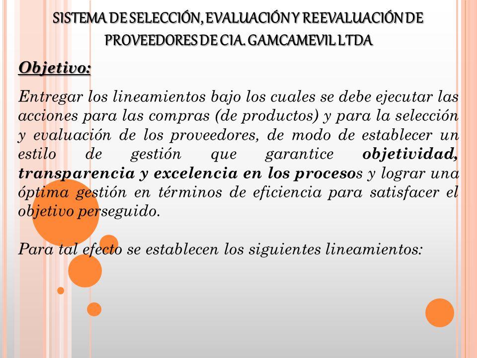 Objetivo: Entregar los lineamientos bajo los cuales se debe ejecutar las acciones para las compras (de productos) y para la selección y evaluación de