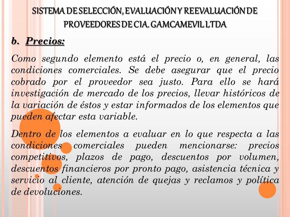 c.Entrega: El tercer elemento es la logística de entrega del proveedor.