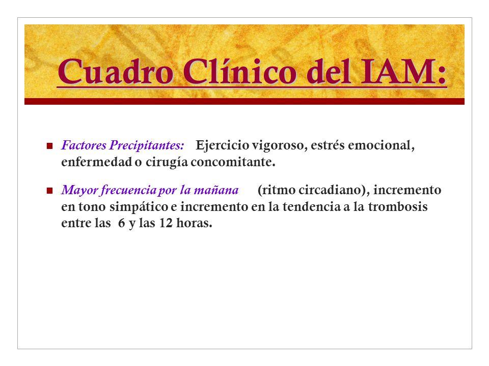 Cuadro Clínico del IAM: Factores Precipitantes: Ejercicio vigoroso, estrés emocional, enfermedad o cirugía concomitante. Mayor frecuencia por la mañan