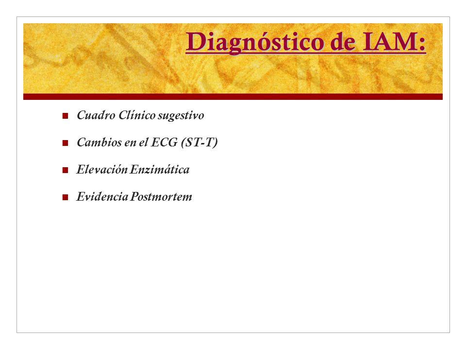 Diagnóstico de IAM: Cuadro Clínico sugestivo Cambios en el ECG (ST-T) Elevación Enzimática Evidencia Postmortem