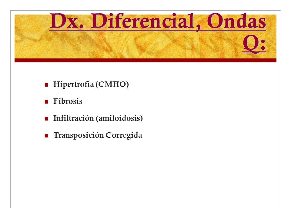 Dx. Diferencial, Ondas Q: Hipertrofia (CMHO) Fibrosis Infiltración (amiloidosis) Transposición Corregida