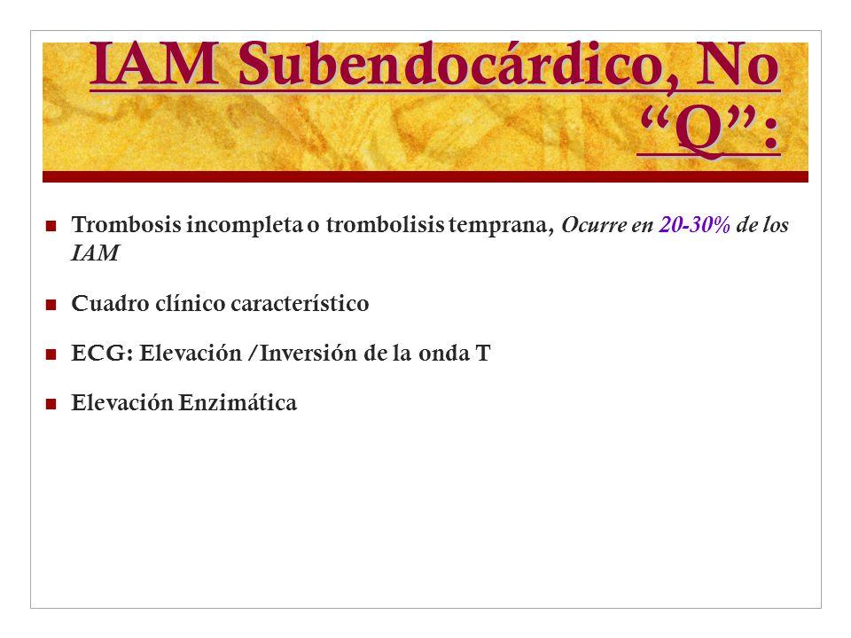 IAM Subendocárdico, No Q: Trombosis incompleta o trombolisis temprana, Ocurre en 20-30% de los IAM Cuadro clínico característico ECG: Elevación /Inver
