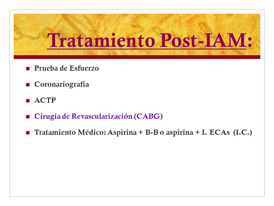 Tratamiento Post-IAM: Prueba de Esfuerzo Coronariografía ACTP Cirugía de Revascularización (CABG) Tratamiento Médico: Aspirina + B-B o aspirina + I. E