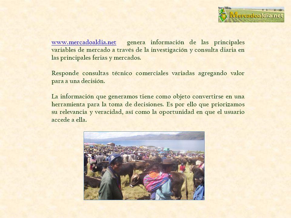 www.mercadoaldia.netwww.mercadoaldia.net genera información de las principales variables de mercado a través de la investigación y consulta diaria en