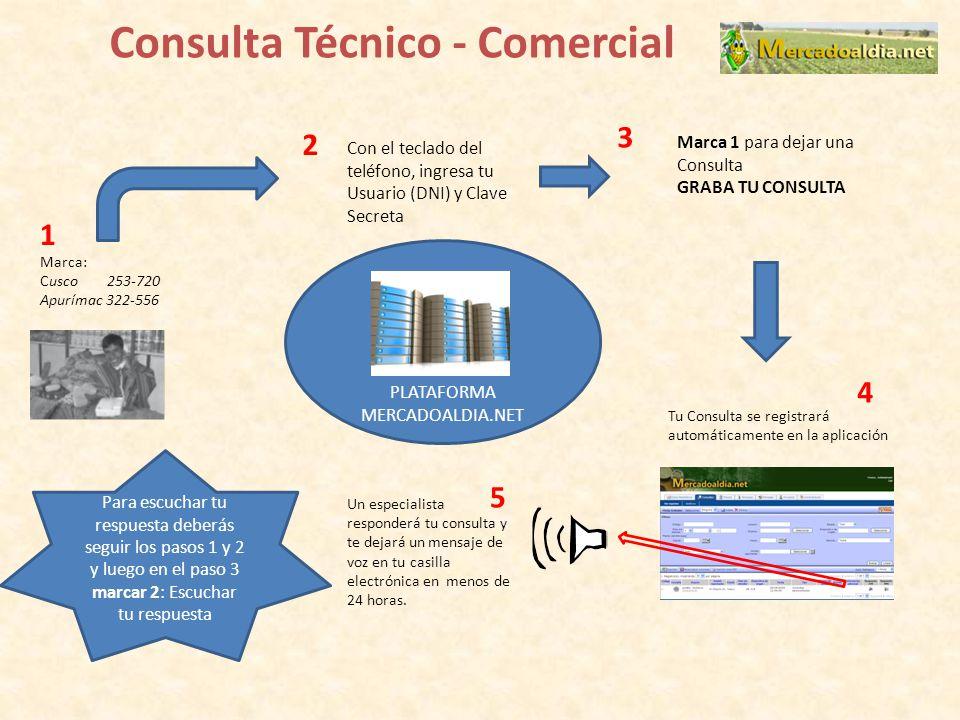 Consulta Técnico - Comercial Marca: Cusco 253-720 Apurímac 322-556 Con el teclado del teléfono, ingresa tu Usuario (DNI) y Clave Secreta PLATAFORMA ME