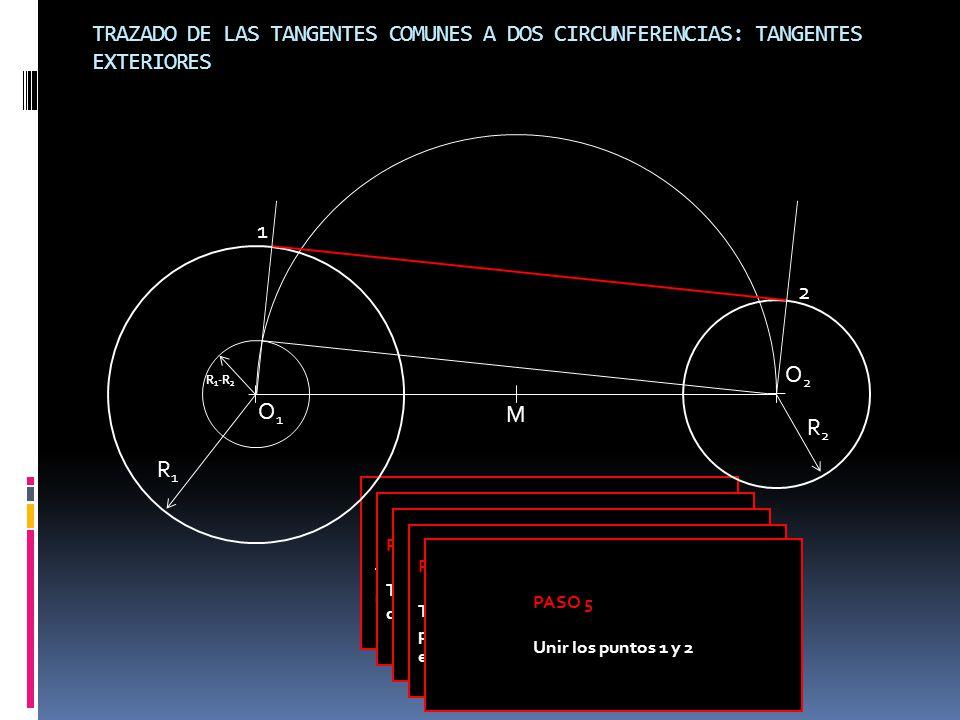 PASO 1 Trazar una circunferencia con centro en O 1 y radio igual a R 1 -R 2 PASO 2 Trazar la tangente a la circunferencia auxiliar desde O 2.