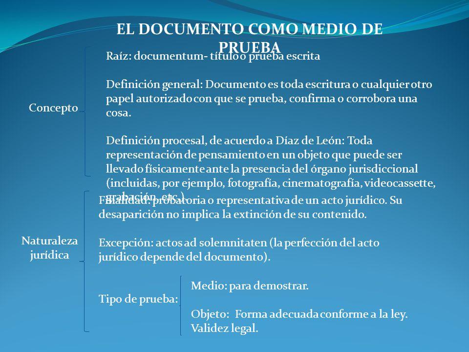 EL DOCUMENTO COMO MEDIO DE PRUEBA Concepto Raíz: documentum- título o prueba escrita Definición general: Documento es toda escritura o cualquier otro