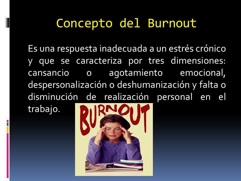 Concepto del Burnout Es una respuesta inadecuada a un estrés crónico y que se caracteriza por tres dimensiones: cansancio o agotamiento emocional, despersonalización o deshumanización y falta o disminución de realización personal en el trabajo.