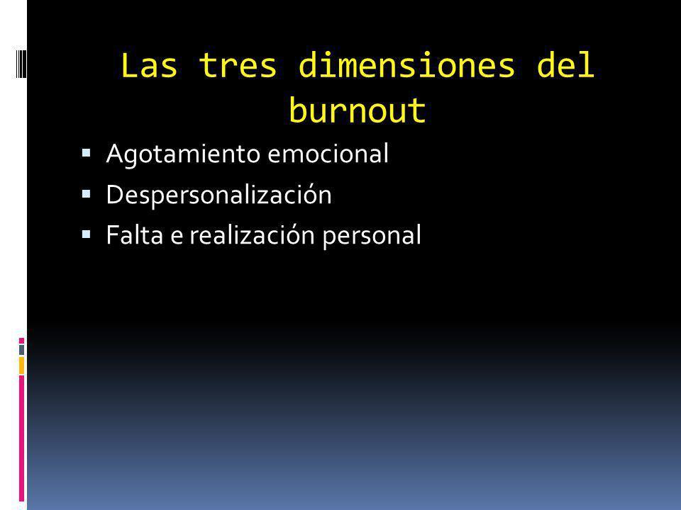 Las tres dimensiones del burnout Agotamiento emocional Despersonalización Falta e realización personal