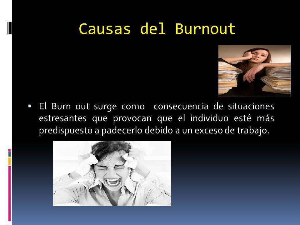 Causas del Burnout El Burn out surge como consecuencia de situaciones estresantes que provocan que el individuo esté más predispuesto a padecerlo debido a un exceso de trabajo.