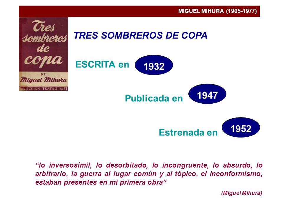 MIGUEL MIHURA (1905-1977) TRES SOMBREROS DE COPA ESCRITA en Publicada en Estrenada en lo inversosímil, lo desorbitado, lo incongruente, lo absurdo, lo arbitrario, la guerra al lugar común y al tópico, el inconformismo, estaban presentes en mi primera obra (Miguel Mihura) 1932 1947 1952