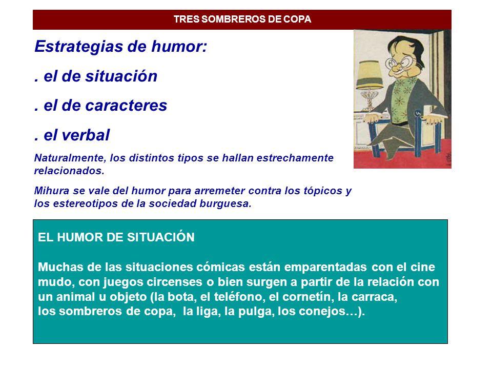 TRES SOMBREROS DE COPA Estrategias de humor:.el de situación.